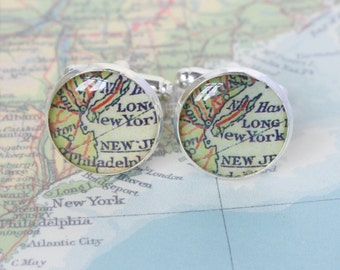 Reserved for Jennie - Map Cufflinks