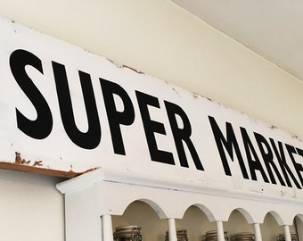 Fixer Upper Super Market Sign Joanna Gaines supermarket sign kitchen sign Distressed Rustic Sign Shabby Chic Sign Cottage Wall Decor