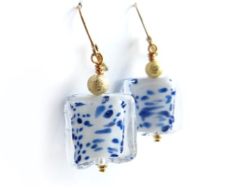 Art Glass Ocean Mist Gold Dangle Earrings