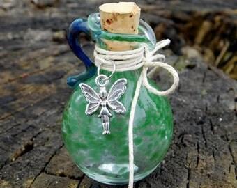 Hand Blown Glass Oil/Ash Jar, Green/Fairy, Pitcher, Ready To Ship