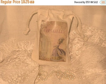 Christmas in July French Market Marie Antoinette Muslin Party Favor Gift Pouches Adorned with Glitter ECS