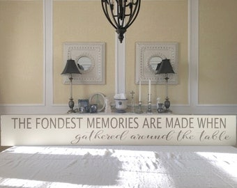 Gathered Around the Table Sign, Painted Wall Art, Wood Sign, Quote Sign, Kitchen Sign