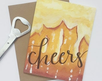 Watercolor Greeting Card, Hand Illustrated Card, For Beer Lovers, Congratulations Card, Just Because, Blank Cards, Greeting Cards