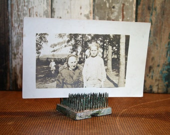 Vintage Photograph Postcard - Assemblage, Mixed Media, Altered Art