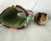 Cozy tunnel for guinea pig,rabbit, ferret, pet hideout, pigaloo, owl fleece, pet sleeping bag. cage accessories, small animal toy, hideout