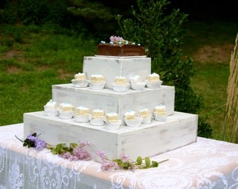 Personalized Rustic 3 Tiered Wedding Cake Cupcake Stand, Barn Wedding, Country Wedding, Wood Cake Stand, Custom Made