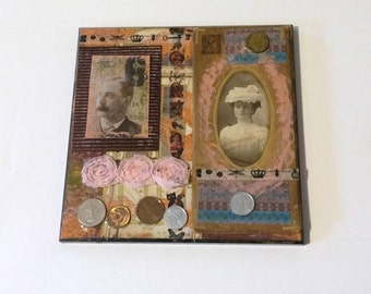 Wood Wall Plaque Art Collage, Old Photos Mixed Media Art, World Coins Vintage Art, Antique Portraits, Upcycled Assemblage Artwork