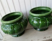 2 Pottery Planters, Green. Pair Jardinieres Vases. American Bisque. Vintage 1950s Flower Pots. Mid Century, Cottage, Garden Decor.