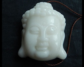 Carved Gemstone White Agate Buddha Head Pendant Bead,Carving Bead,31x24x12mm,13.4g