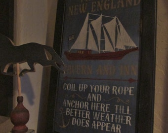 the olde new england tavern sign- wide frame