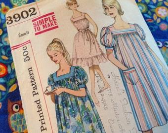 Vintage Simplicity Pattern 3902, Muu Muu pattern, 60's, Dress Pattern, Cut
