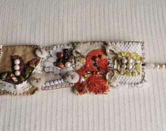 Bracelet Wrist Cuff, Textile wrist cuff, Mixed media wrist cuff, eco friendly jewelry, eco cuff, handmade gift, hand stitched cuff