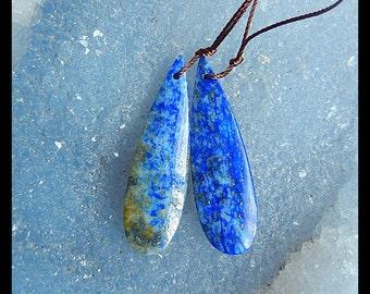 SALE,Lapis Lazuli Gemstone Earring,36x11x5mm,7.07g