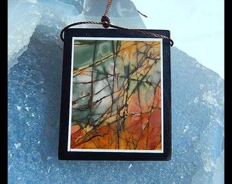 Black Stone,Multi-Color Picasso Jasper Intarsia Pendant Bead,39x32x6mm,19.3g