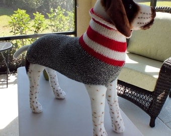 "Xmas Pet Gift SALE Dog Sweater Hand Knit  24"" inches long Merino Wool"