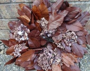 Hydrangea Wreath  Salal Wreath  Lemon Leaf Wreath  Natural Wreath  Door Wreath  Preserved Wreath  Door Wreath  Gift