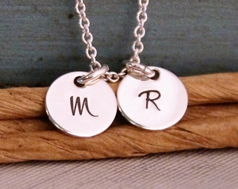 Small Initials Duet Necklace / Hand Stamped Mommy Necklace / Personalized Sterling Silver Jewelry / Dainty Charms