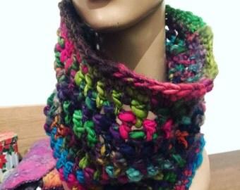 Crochet cowl circle scarf - 'Rainbow' - Handspun art yarn hand dyed wool purple teal green pink, MADE to ORDER wearable fiber art neckwarmer