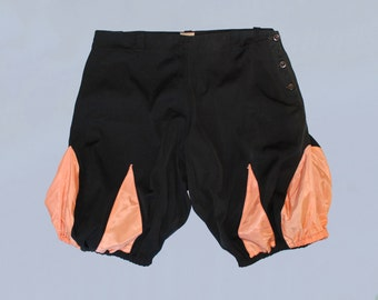 RESERVED Rare 1920s Bloomer Shorts / Gym Sportswear Athletic Bloomers / Black and Pink!