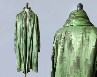 RESERVED 1920s Coat / 20s Abstract Art Deco Lamé Coat/ Rare ARSENIC GREEN! / Amazing Museum Quality