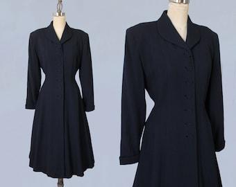 1940s Coat / 40s Navy Blue Princess Coat / M/L