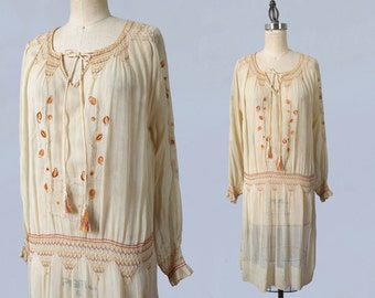 1920s Dress / 20s Embroidered Cotton Peasant Dress / Smocked Hip and Shoulders / Open Work Embroidery / Long Sleeves / Tassel Tie
