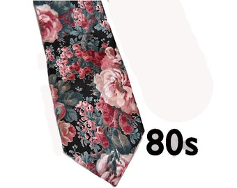 Vintage Floral Necktie - 80s Wembley Satin Neck Tie