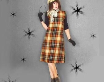 Vintage Preppy Plaid Jumper Dress - 60s Sleeveless A-Line - Fall Winter
