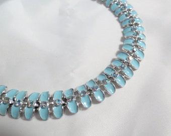 Vintage Kramer Blue Enamel and Crystal Bracelet