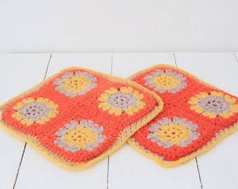 Vintage knitted crochet trivet placemats orange yellow pair