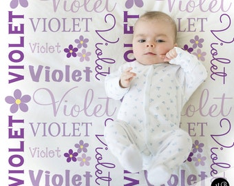 Flower Name Blanket in purple and gray for Baby Girl, personalized baby gift, blanket, baby blanket, personalized blanket, choose colors