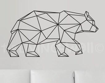 Geometric Bear Wall Decal, Geometric Bear Decals, Bear Home Decor Wall Decals, Geometric Bear Vinyl Wall Stickers