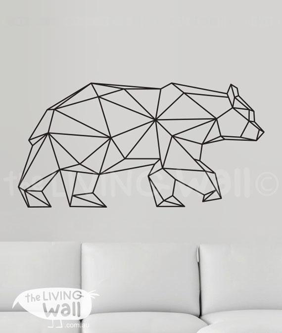 Geometric Bear Wall Decal Geometric Bear Decals Bear by