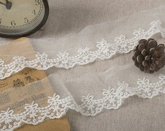 "14 yard 5cm 1.96"" wide ivory mesh tulle gauze fabric embroidered tapes lace trim ribbon L1K84 free ship"