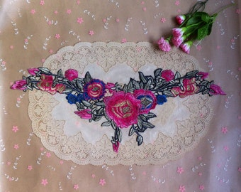 3pcs 51x20x14cm wide fuschia embroidered lace collars appliques patches 4331 free ship