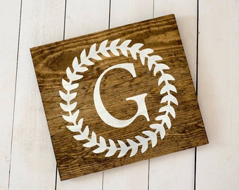 Monogram Sign, Rustic Sign, Home Decor, Monogram Wooden Sign, Personalized Gift, Family Name Sign, Wedding Sign, Laurel Wreath