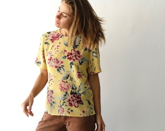 90s TWIN PEAKS floral GRUNGE short sleeve bright sheer shirt