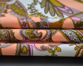 Vintage Retro Neon Orange and Purple Polyester Fabric by the yard