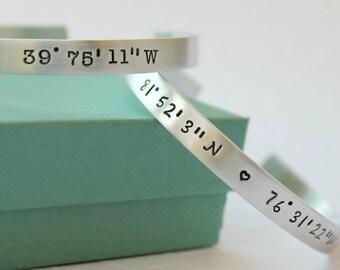 GPS Bracelet - GPS Coordinate Bracelet - GPS Coordinate Jewelry - Personalized Bracelet - Personalized gps Coordinate gift - gps gift -