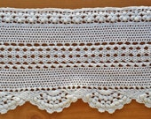 Beautiful White Hand Crocheted Lace, Vintage Trim Edging, 64 x 82 inches