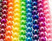 25 AB Beads Round Smooth 12mm Aurora Borealis Rainbow Iridescent