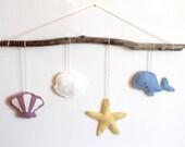 Felt Seashell Nursery Mobile, Driftwood Art, Beach Decor, Baby Mobile, Baby Gift, Sea Shells, Whale, Starfish, Gifts for Mom, Gift for Women