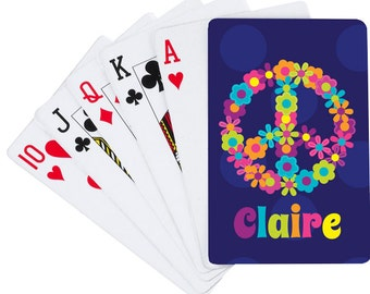 Peace and Flowers Playing Cards | Custom Card Deck | Personalized Playing Cards for Kids | Party Favors | Gaming | Custom Games | Monogram