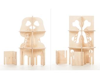 Modular Pirate Tower // This Modular DIY Natural Building Toy will Challenge Kids' Creativity // Waldorf Inspired Pirate Toy
