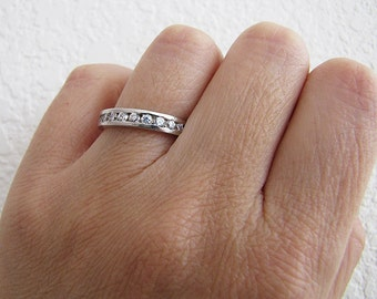 Channel Set CZ Sterling Sivler Ring Band, Size 7, Eternity Sterling Ring, Sale