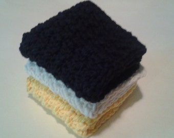 Cloth Pads Reusable, Crocheted Cotton Dishcloths, Washcloths, Set of 3- Yellow, White and Black
