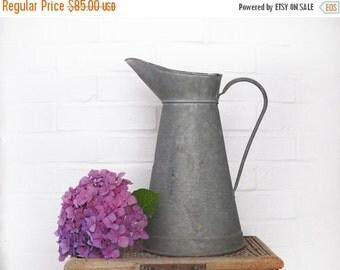 LARGE Metal Jug, antique Zinc Pitcher, large zinc water jug, shabby chic garden