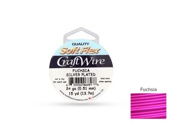 Craft Wire Soft Flex 24gauge Silver Plated Fuchsia 15yards  - 1 Spool (4705) Wholesale Price