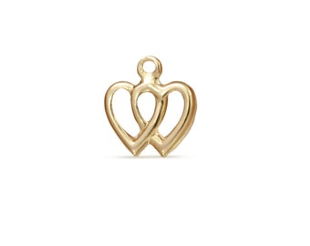 14Kt Gold filled 11.1x10.4mm Twin Heart Charms with 2.8mm ring on top - 5pcs Made in USA (3965)/1