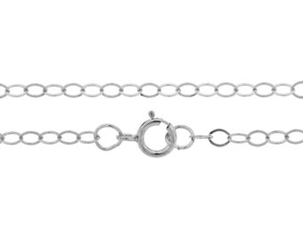 "Sterling Silver 2.1mm 18"" Flat Cable Chain   - 1pc Made in USA 10% discounted lowest price (5493)/1"